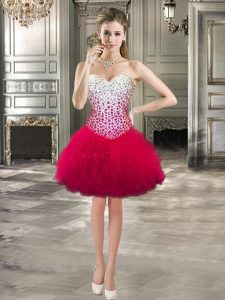 Best Ball Gowns 15th Birthday Dress Hot Pink Sweetheart Tulle Sleeveless Mini Length Lace Up
